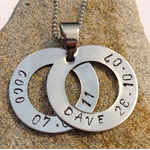 Double hoop / washer pendant (both same size) - family circles - personalised ne